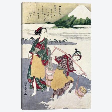 Salt Maidens on the Tago-no-ura Beach with Mt. Fuji Behind  Canvas Print #BMN954} by Suzuki Harunobu Canvas Art Print