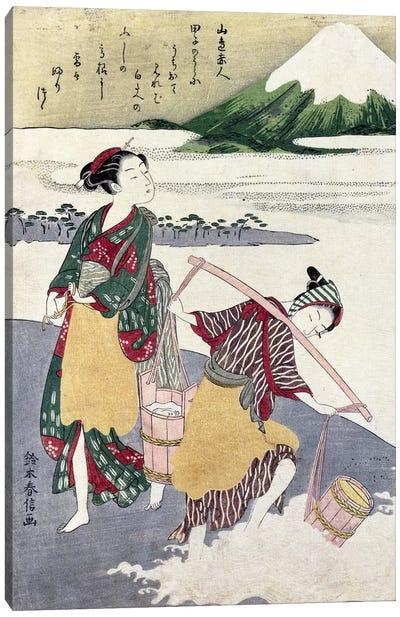 Salt Maidens on the Tago-no-ura Beach with Mt. Fuji Behind  Canvas Art Print