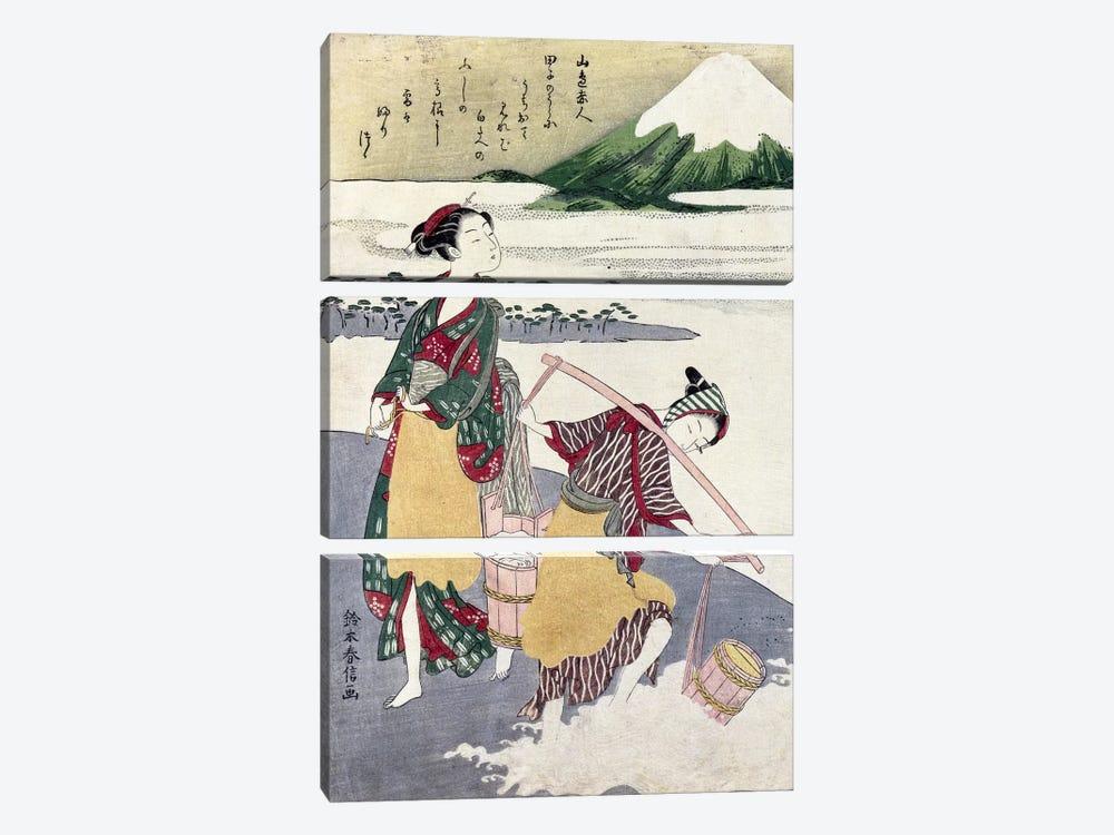 Salt Maidens on the Tago-no-ura Beach with Mt. Fuji Behind  by Suzuki Harunobu 3-piece Canvas Wall Art
