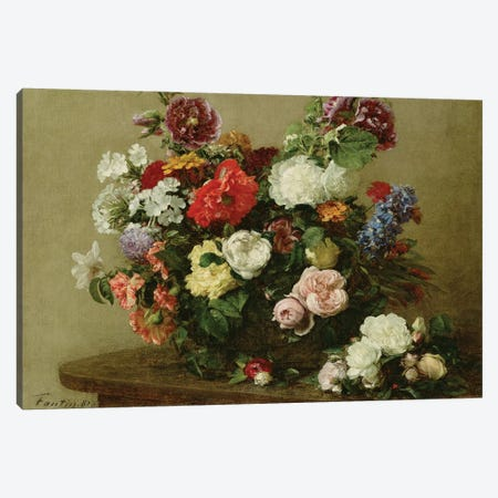 French Roses and Peonies, 1881 3-Piece Canvas #BMN955} by Ignace Henri Jean Theodore Fantin-Latour Canvas Art Print