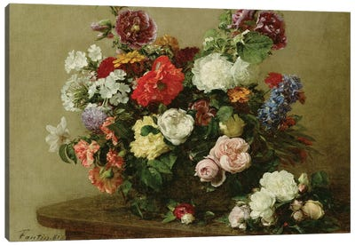 French Roses and Peonies, 1881 Canvas Art Print
