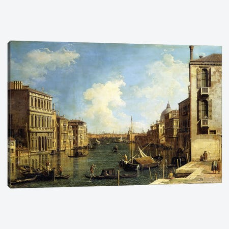 The Grand Canal, Venice, Looking East from the Campo di San Vio, Canvas Print #BMN9567} by Canaletto Canvas Art Print