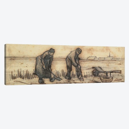 The Potato Harvest, from a series of four drawings representing the four seasons Canvas Print #BMN9586} by Vincent van Gogh Canvas Art Print
