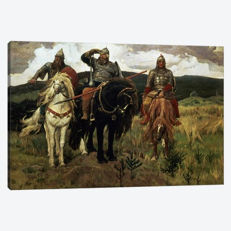 Warrior Knights, 1881-98  Canvas Print #BMN958} by Victor Mikhailovich Vasnetsov Canvas Artwork