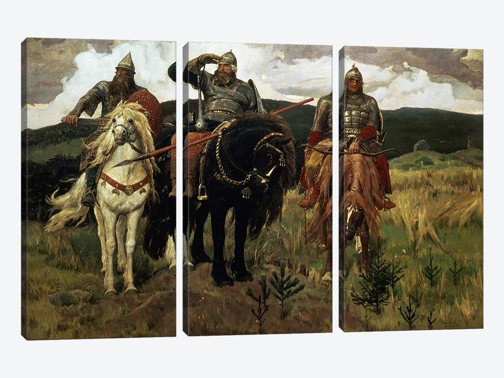 Warrior Knights, 1881-98  by Victor Mikhailovich Vasnetsov 3-piece Canvas Wall Art