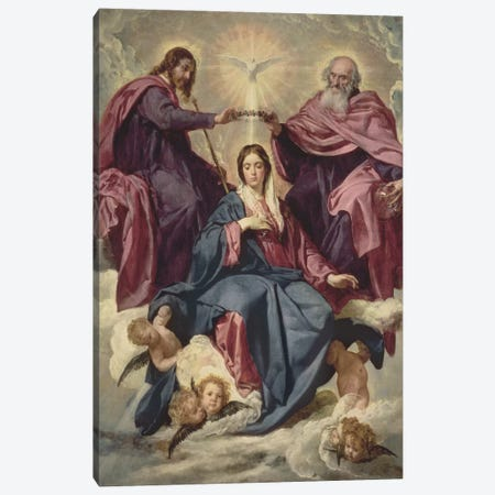 Coronation of the Virgin, c.1641-42  Canvas Print #BMN9600} by Diego Rodriguez de Silva y Velazquez Canvas Print