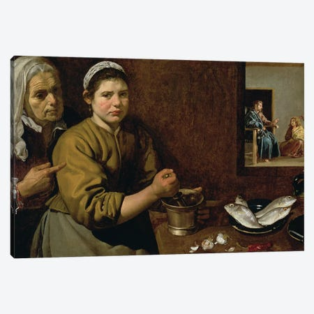 Kitchen Scene with Christ in the House of Martha and Mary, c.1618  Canvas Print #BMN9602} by Diego Rodriguez de Silva y Velazquez Canvas Art Print