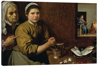 Kitchen Scene with Christ in the House of Martha and Mary, c.1618  Canvas Art Print