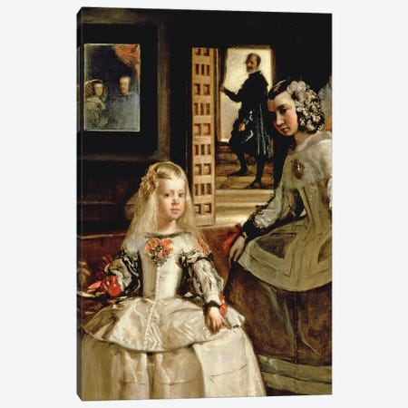 Las Meninas, detail of the Infanta Margarita and her maid, 1656   Canvas Print #BMN9604} by Diego Rodriguez de Silva y Velazquez Canvas Artwork