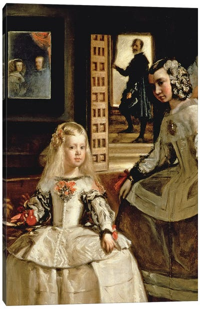 Las Meninas, detail of the Infanta Margarita and her maid, 1656   Canvas Art Print