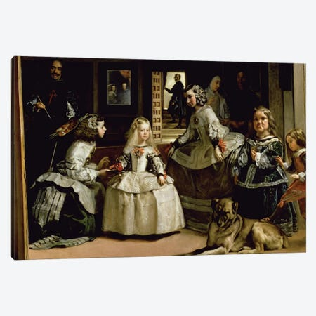 Las Meninas, detail of the lower half depicting the family of Philip IV  of Spain, 1656   Canvas Print #BMN9605} by Diego Rodriguez de Silva y Velazquez Canvas Wall Art