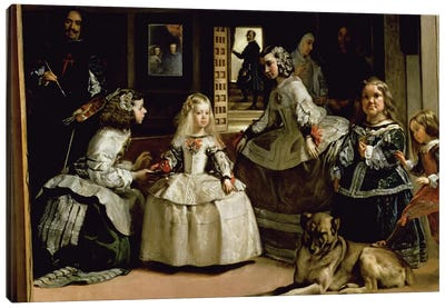 Las Meninas, detail of the lower half depicting the family of Philip IV  of Spain, 1656   Canvas Art Print