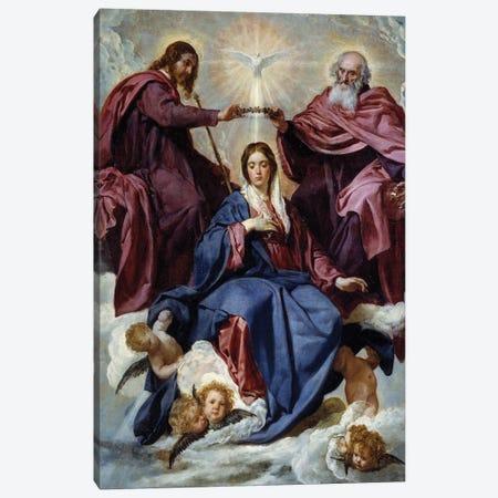 The coronation of the Virgin, 1645 Canvas Print #BMN9607} by Diego Rodriguez de Silva y Velazquez Canvas Wall Art