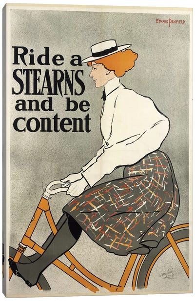 Ride a Stearns and be Content, c.1896  Canvas Art Print