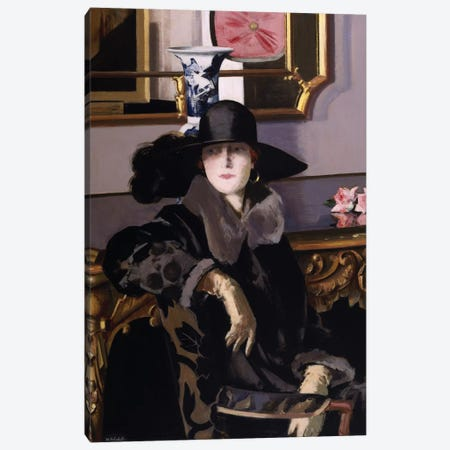 A Lady in Black  Canvas Print #BMN9620} by Francis Campbell Boileau Cadell Art Print