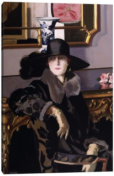 A Lady in Black  Canvas Art Print