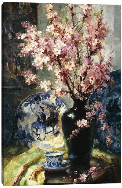 Apple Blossoms and Blue and White Porcelain on a Table,  Canvas Art Print
