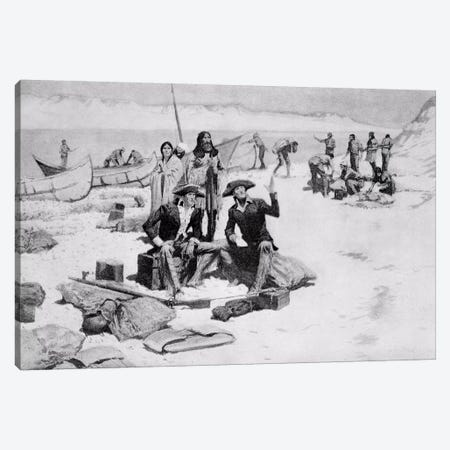 Lewis and Clark at the mouth of the Columbia River, 1805 Canvas Print #BMN9635} by Frederic Remington Art Print
