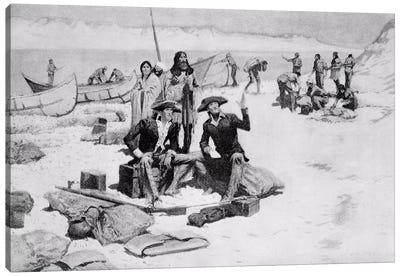 Lewis and Clark at the mouth of the Columbia River, 1805 Canvas Art Print