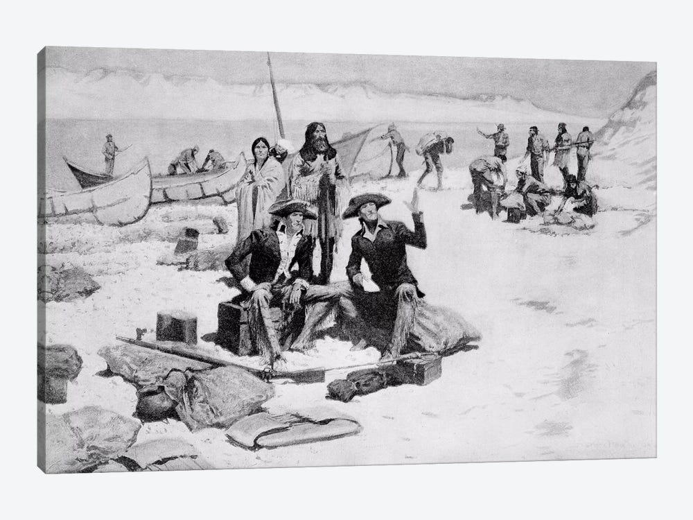 Lewis and Clark at the mouth of the Columbia River, 1805 by Frederic Remington 1-piece Canvas Wall Art