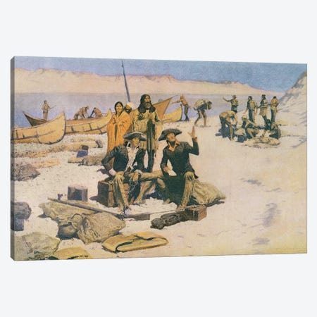 Lewis and Clark at the mouth of the Columbia River, 1805, from 'Collier's Magazine', May 12th 1906  Canvas Print #BMN9636} by Frederic Remington Art Print