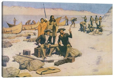 Lewis and Clark at the mouth of the Columbia River, 1805, from 'Collier's Magazine', May 12th 1906  Canvas Art Print