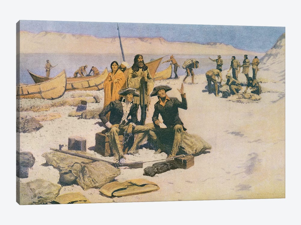 Lewis and Clark at the mouth of the Columbia River, 1805, from 'Collier's Magazine', May 12th 1906  by Frederic Remington 1-piece Canvas Art Print
