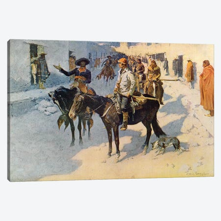 Zebulon Pike Entering Santa Fe, illustration published in 'Collier's Weekly', 1906  Canvas Print #BMN9640} by Frederic Remington Canvas Art Print