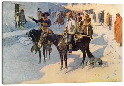 Zebulon Pike Entering Santa Fe, illustration published in 'Collier's Weekly', 1906  Canvas Art Print