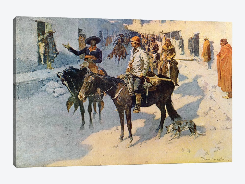 Zebulon Pike Entering Santa Fe, illustration published in 'Collier's Weekly', 1906  by Frederic Remington 1-piece Canvas Wall Art