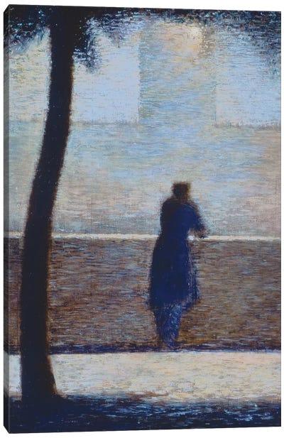 Man leaning on a parapet  Canvas Art Print