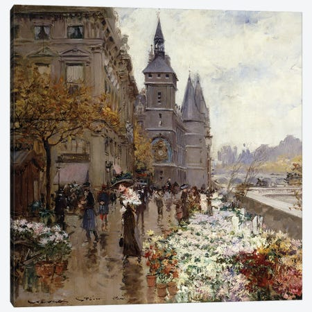 A Flower Market Along the Seine,  Canvas Print #BMN9654} by Georges Stein Art Print