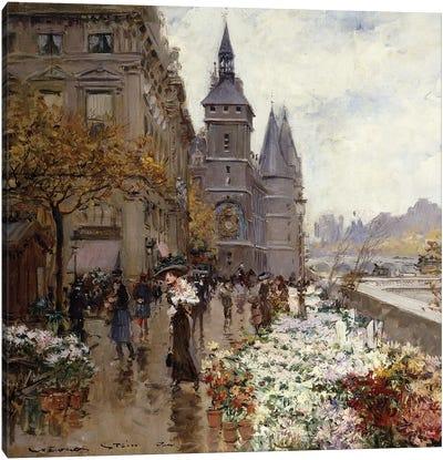 A Flower Market Along the Seine,  Canvas Art Print