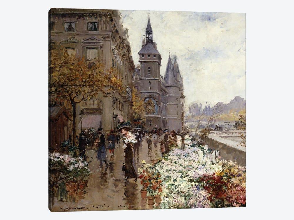 A Flower Market Along the Seine,  by Georges Stein 1-piece Canvas Art Print