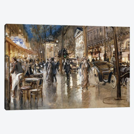 Evening on a Parisian Boulevard,  Canvas Print #BMN9655} by Georges Stein Canvas Art Print