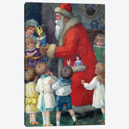 Father Christmas with Children Canvas Print #BMN9670} by Karl Roger Canvas Art
