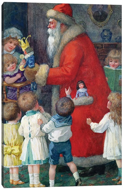 Father Christmas with Children Canvas Art Print