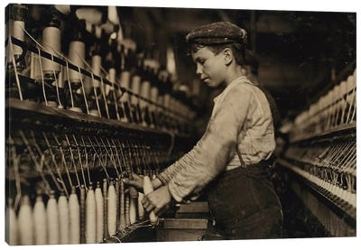 A doffer replaces full bobbins at Globe Cotton Mill, Augusta, Georgia, 1909  Canvas Art Print