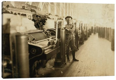 Boy sweeper by carding machines at Lincoln Cotton Mills, Evansville, Indiana in stockinged feet on a slippery floor, 1908  Canvas Art Print