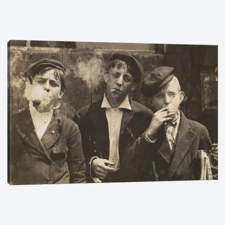 Three Young Newsboys Smoking, Saint Louis, Missouri, USA, 1910  Canvas Print #BMN9677} by Lewis Wickes Hine Canvas Print