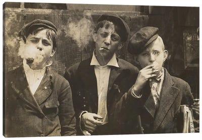 Three Young Newsboys Smoking, Saint Louis, Missouri, USA, 1910  Canvas Art Print