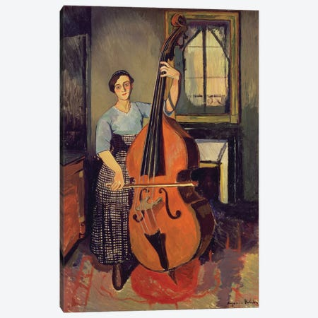 Woman with a Double Bass, 1908 Canvas Print #BMN9685} by Marie Clementine Valadon Canvas Artwork
