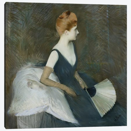Madame Marthe Letellier Sitting on a Sofa, Holding a Fan, c.1895  Canvas Print #BMN9695} by Paul Cesar Helleu Art Print