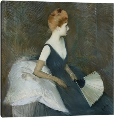 Madame Marthe Letellier Sitting on a Sofa, Holding a Fan, c.1895  Canvas Art Print