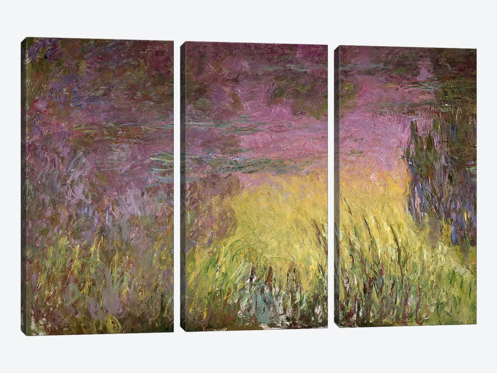 Waterlilies at Sunset, 1915-26 (oil on canvas) by Claude Monet 3-piece Canvas Art Print