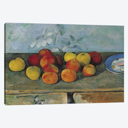 Still life of apples and biscuits, 1880-82  Canvas Print #BMN9712} by Paul Cezanne Canvas Art Print