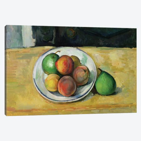 Still Life with a Peach and Two Green Pears, c. 1883-87  Canvas Print #BMN9713} by Paul Cezanne Canvas Print