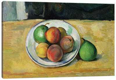 Still Life with a Peach and Two Green Pears, c. 1883-87  Canvas Art Print