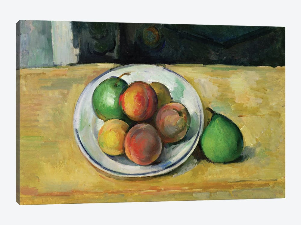 Still Life With A Peach And Two Green Pears C Paul Cezanne Icanvas