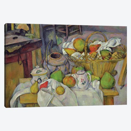 Still life with basket, 1888-90  Canvas Print #BMN9717} by Paul Cezanne Canvas Art
